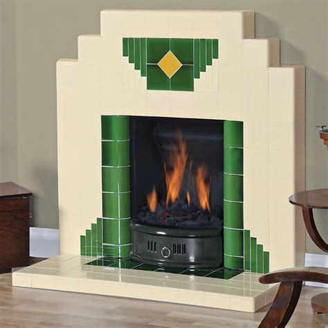 On Fireplace by Wyndham Deco All Tiled Fireplace Twentieth Century