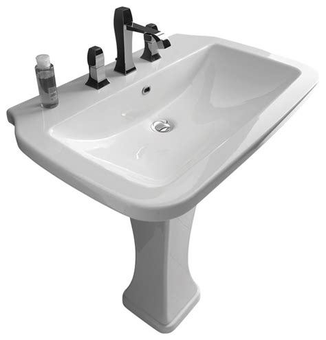 Pro Kitchen Faucet nova pedestal sink in ceramic white 29 5 quot contemporary