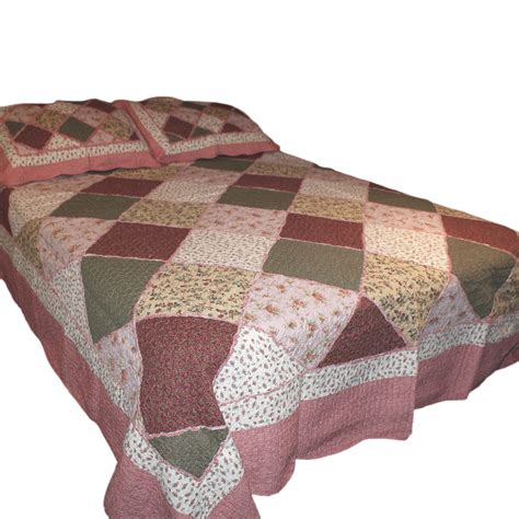 Patchwork Quilted Throw - wholesale new cottage garden patchwork quilted throw