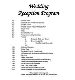 wedding program template exles wedding reception program sle mini bridal
