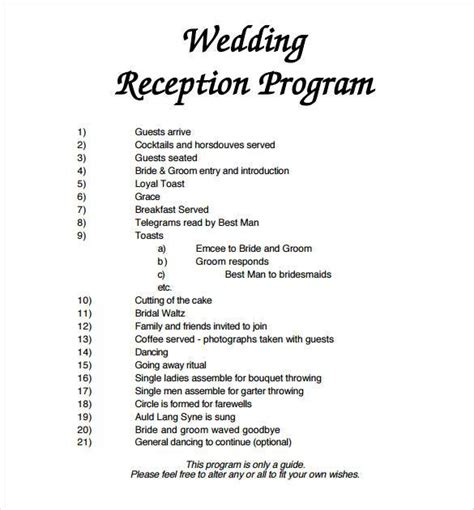 layout for wedding reception program wedding program template 64 free word pdf psd
