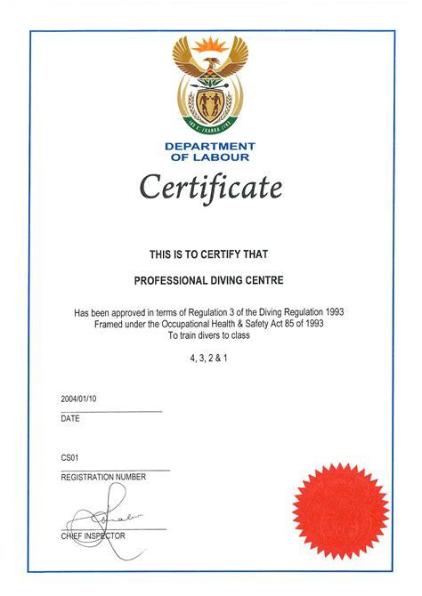 certificate for school dol school certificate professional diving centre