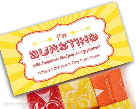 %name gift card vendors   Burst Valentines Treat Bag Toppers Bursting With Happiness Printable Toppers Valentines Favors