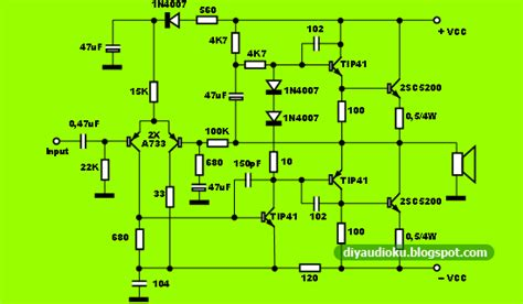 skema layout ocl 150 watt diy audio elektronika power amplifier ocl 100 watt cocok
