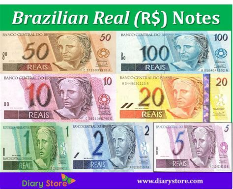 Real Brazil Currency Brl Centavo Diary Store