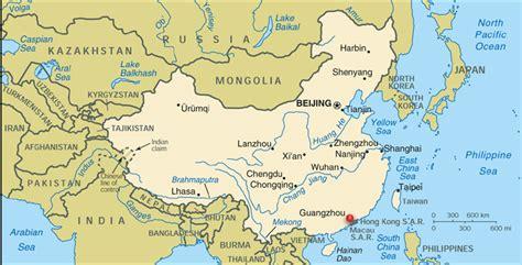 Canton China Map by Guangzhou China