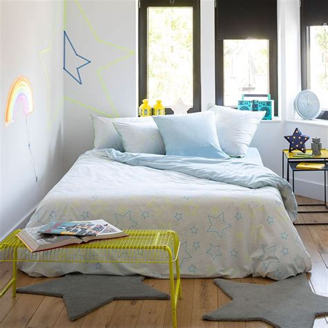 Couette Teo by Housse De Couette Theo Bleu Carre Blanc