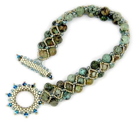 beaded peyote bracelet pattern turquoise toggle beaded bracelet instant pattern