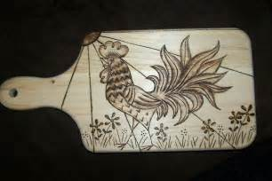 bug a boo corner rooster wood burned design on cutting board
