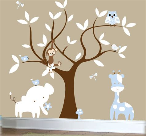 Boys Nursery Jungle Decal Set Tree Wall Decal By Couturedecals Boy Nursery Wall Decal