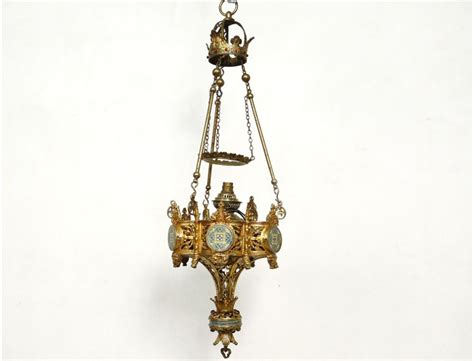 Ormolu Chandelier Church Pilot Cloisonn 233 Enamel Cross Church Chandeliers