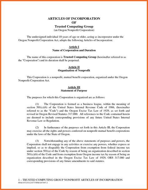 7 8 Articles Of Incorporation Sample Cvsletemplate Non Profit Bylaws Template Illinois