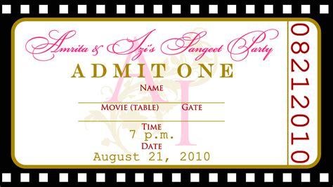 Movie Ticket Invitation Template Free Blank Ticket Invitation Template
