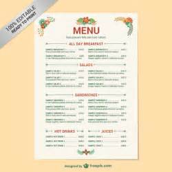Editable restaurant menu template vector free download