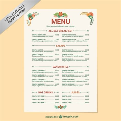 free editable menu templates editable restaurant menu template vector free