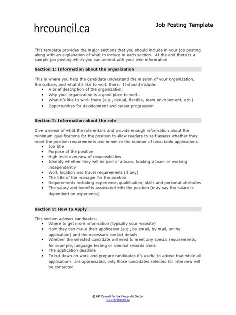 Job Posting Template Docshare Tips Posting Template Docs