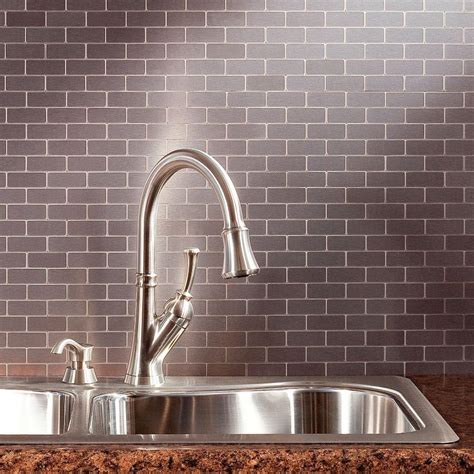 home depot subway tile backsplash aspect subway matted 12 in x 4 in metal decorative tile
