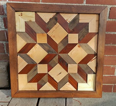 salvaged wood  tone barn quilt quilting pattern