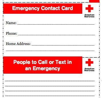 How To Prepare For Emergencies When You Are Strapped For Time Notes From The Junk Drawer Contact Card Template