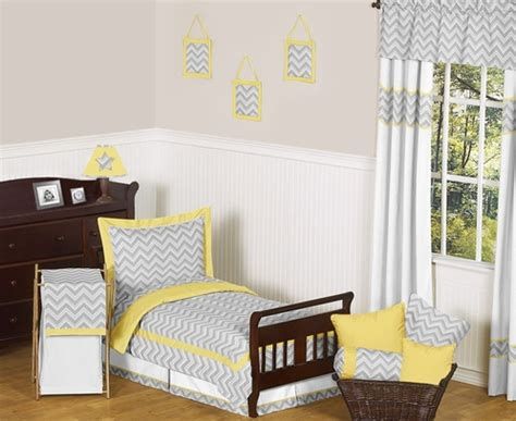 yellow and grey chevron bedding yellow and gray chevron zig zag toddler bedding 5pc set by sweet jojo designs only