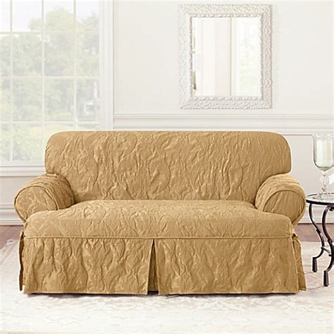 bed bath beyond slipcovers sure fit 174 matelasse damask 1 piece t cushion loveseat