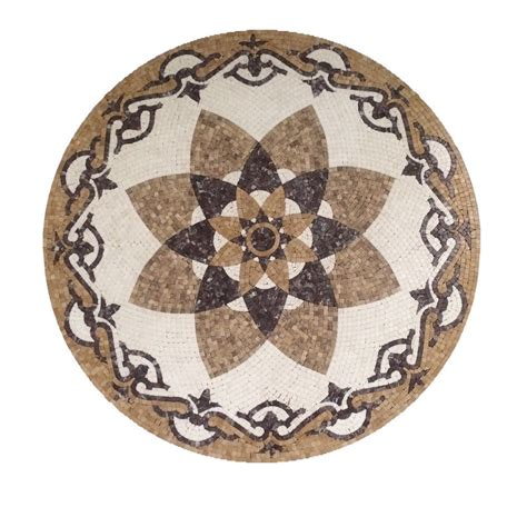 marble stone mosaic round medallion floor wall art tile decorate medallion 36in ebay