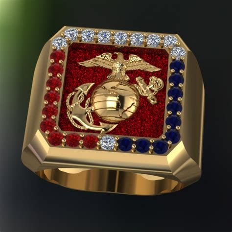 custom color corp custom 18k yellow gold marine corps ring
