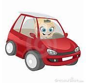 No Carro Vermelho Dos Desenhos Animados Isolado Fundo Branco