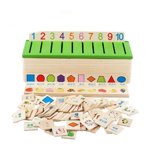 1 Set Clasic 1 set educational cognitive wooden matching block