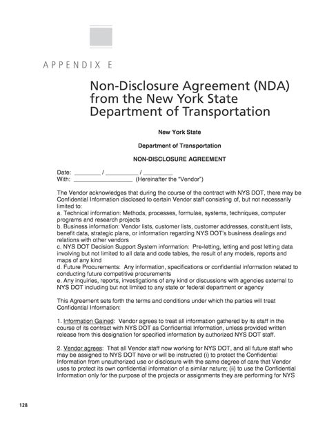 intellectual property non disclosure agreement template appendix e non disclosure agreement nda from the new