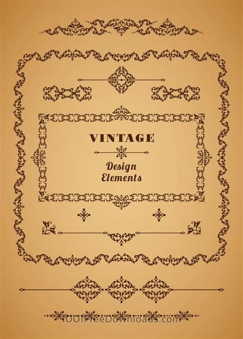 retro vintage design elements vector set free vectors set of retro vintage frames and borders