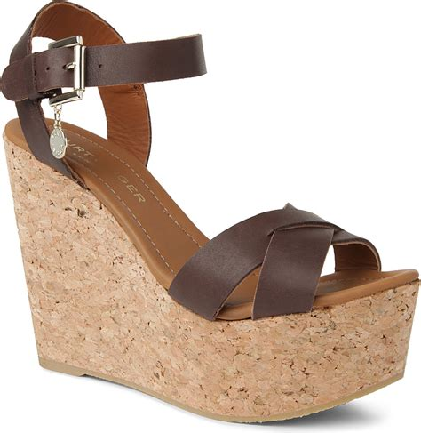 brown sandal wedges kurt geiger contra wedge sandals in brown brown lyst
