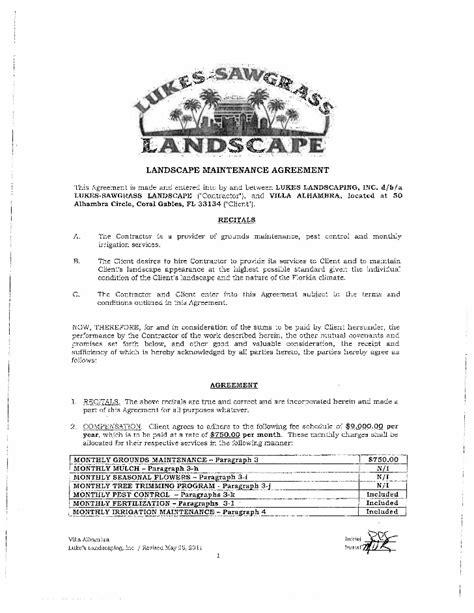 landscape maintenance contract lukes sawgrass landscaping maintenance contract villa