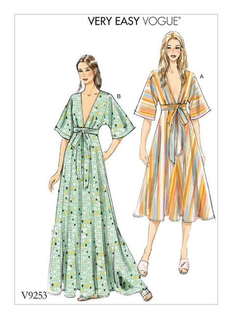 sewing patterns in australia vogue patterns 9253 misses deep v kimono style dresses