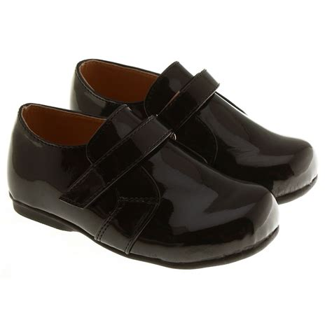 infant boys smart dress shoes in black with velcro