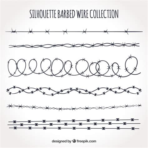 lime silhouette barbed wire silhouette set vector free