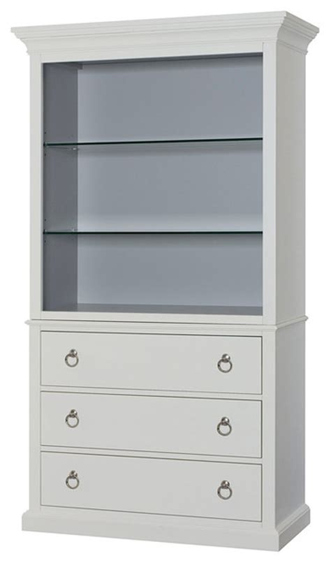 Hammary Hidden Treasures White Bookcase Transitional White Bookcase With Drawer