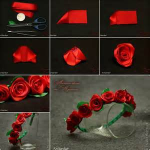 Red Flower Hair Accessories - how to diy pretty satin ribbon flower hairband