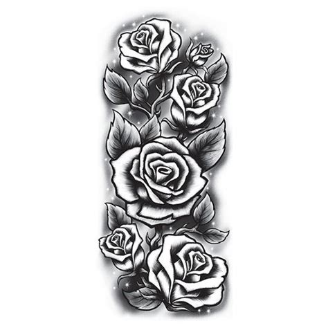 white temporary tattoo roses sleeve black white temporary