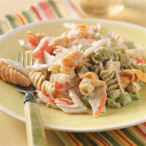 cold pasta salad recipes 4 taste of home pasta crab salad recipe taste of home