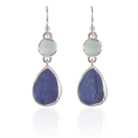 Handmade Sterling Silver Jewellery - handmade aquamarine and tanzanite gemstone sterling silver