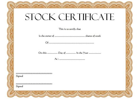 Stock Certificate Template by Blank Stock Certificate Templa Letsridenow