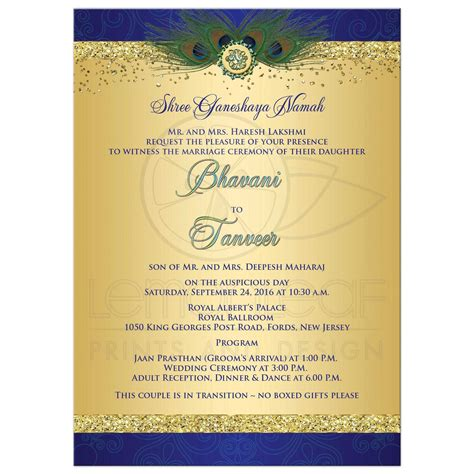 Wedding Invitations Hindu by Wedding Invitation Peacock Feathers Cascade Faux Gold