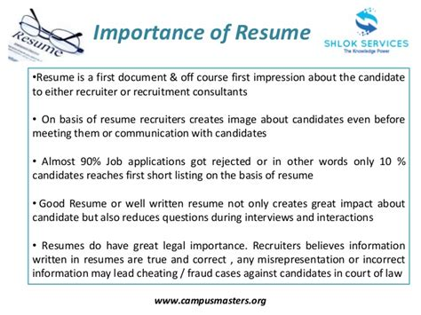 Resume Writing Importance The Importance Of A Resume Resume Ideas
