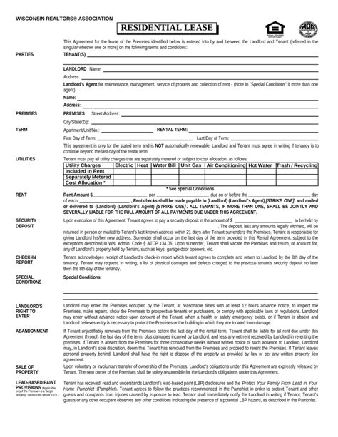 Free Wisconsin Association Of Realtors Residential Lease Agreement Pdf Eforms Free Wisconsin Residential Lease Agreement Template