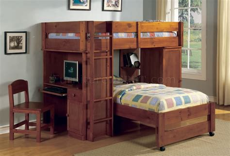 Bunk Bed W Desk Cm Bk529oak Harford Bunk Bed In Oak W Desk Chair