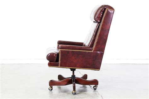 Vintage Burgundy Leather Swivel Office Chair Vintage Swivel Leather Desk Chair