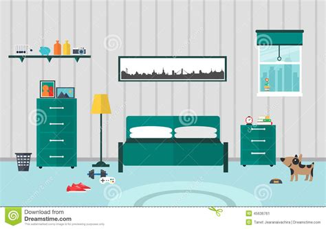 How To Decorate A Master Bedroom Bedroom Flat Design Stock Vector Image 45636761