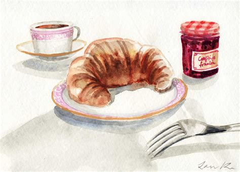Jam Dinding Watercolor Tea Or Coffee croissant and jam confiture et croissant original