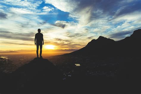 wallpaper 4k alone alone man at sunset sky hill hd photography 4k